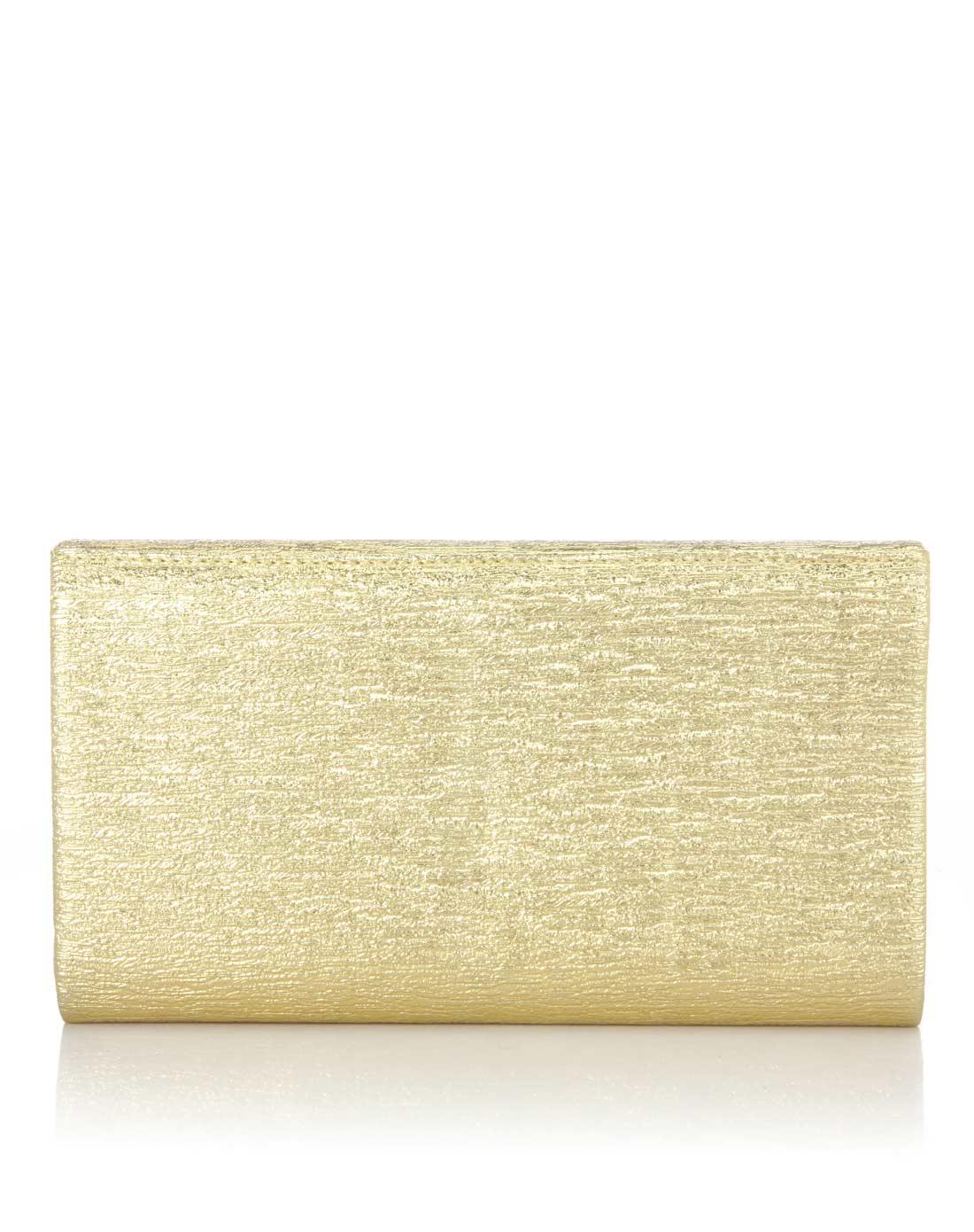 阿卡莎alcazar女款金色韩国进口金属树皮纹pu手拿包