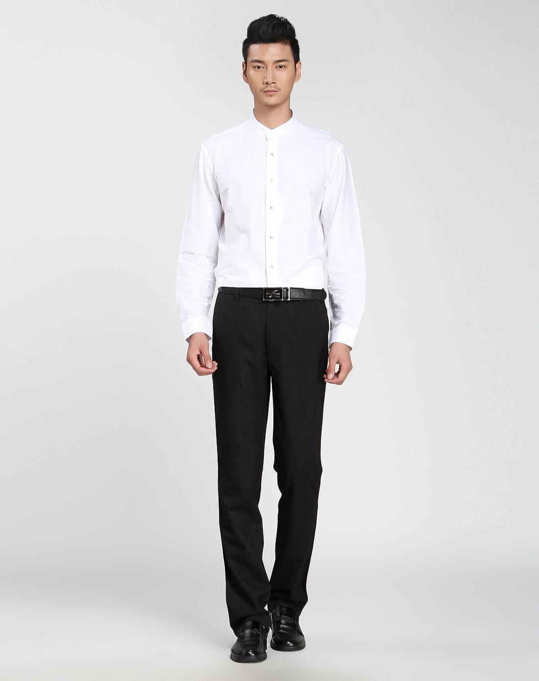 男士衬衫领白色长袖衬衫