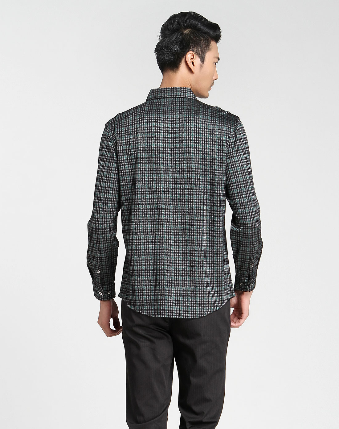 男士衬衫领绿灰色格子长袖衬衫