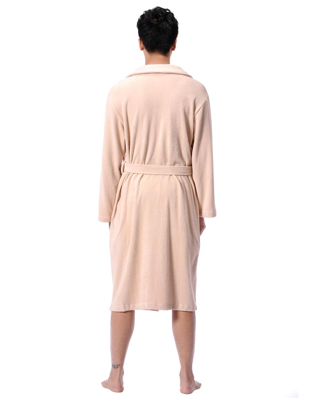 俞兆林男女保暖內衣男士淺咖色毛巾面料浴袍81000201