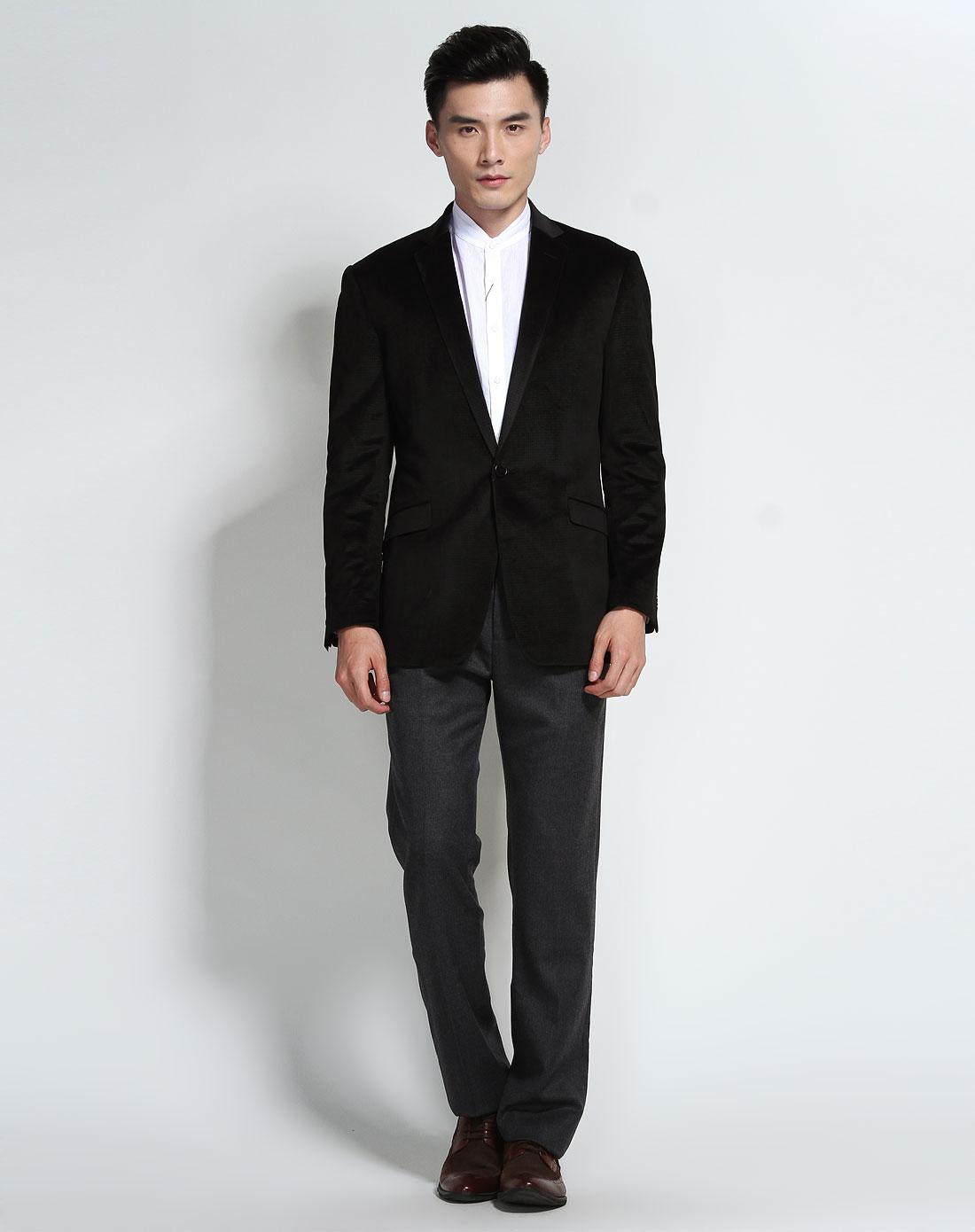 休闲商务黑色格纹单扣长袖西装外套