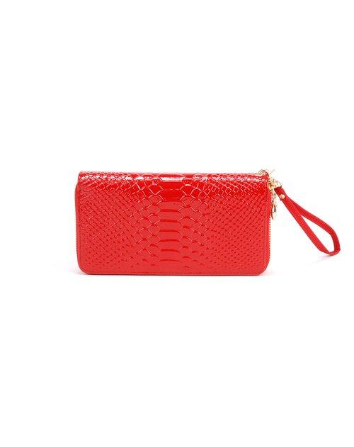 诗薇儿 女士红色鱼鳞纹双拉链长钱包