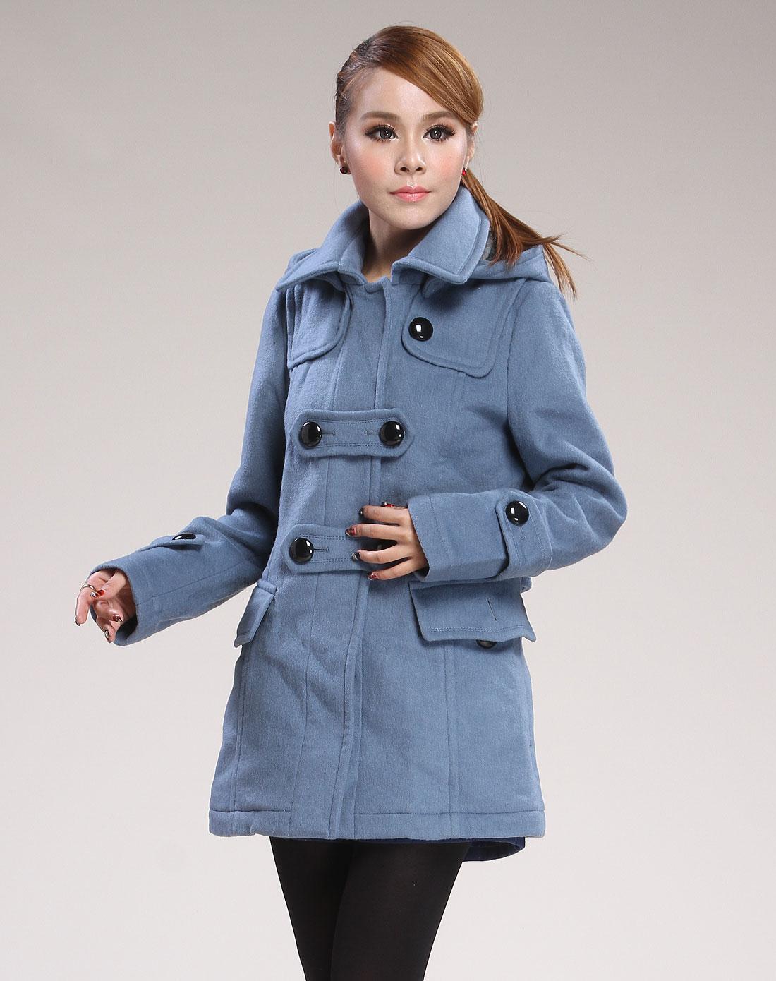 湖蓝色连帽休闲长袖大衣