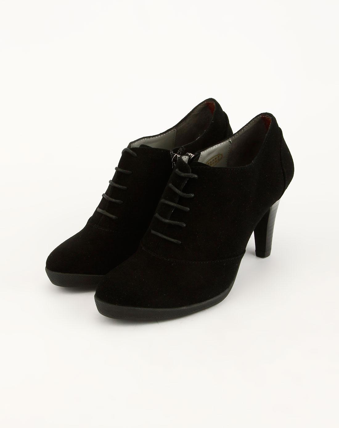 黑色磨砂面绑带高跟鞋