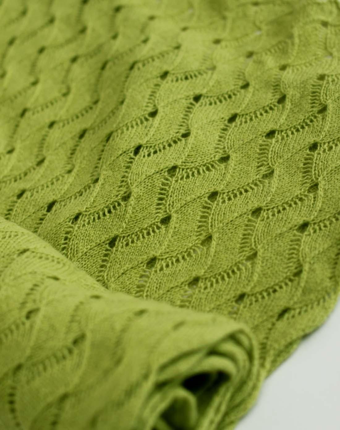 绿色纯羊绒针织水波纹