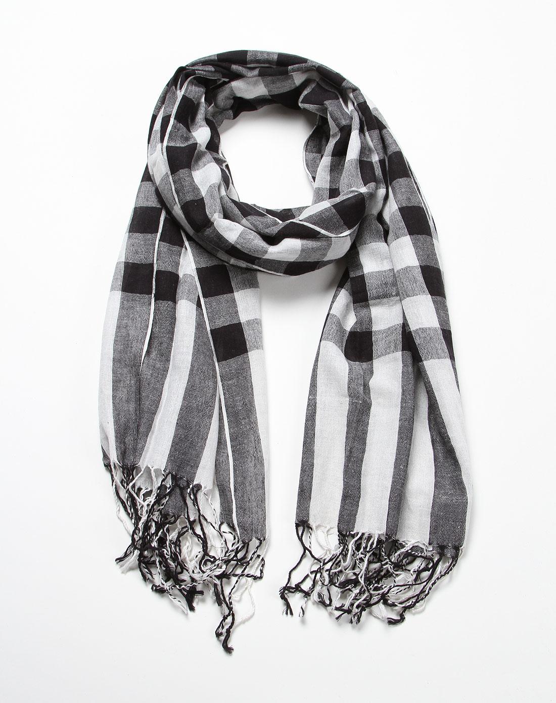 黑白色中格子时尚围巾