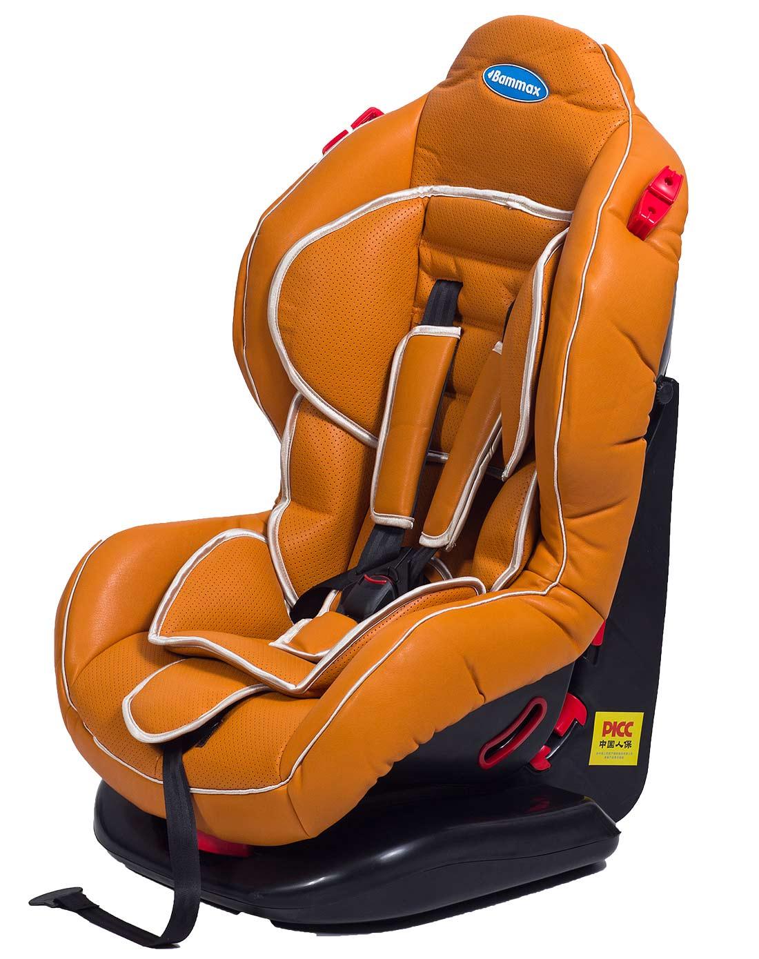 橙色五点式安全带儿童皮质汽车安全座椅