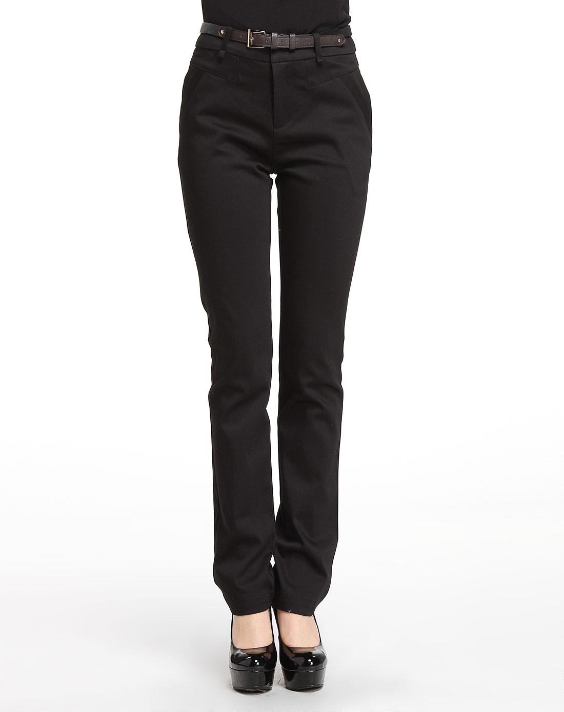 黑色商务修身长裤