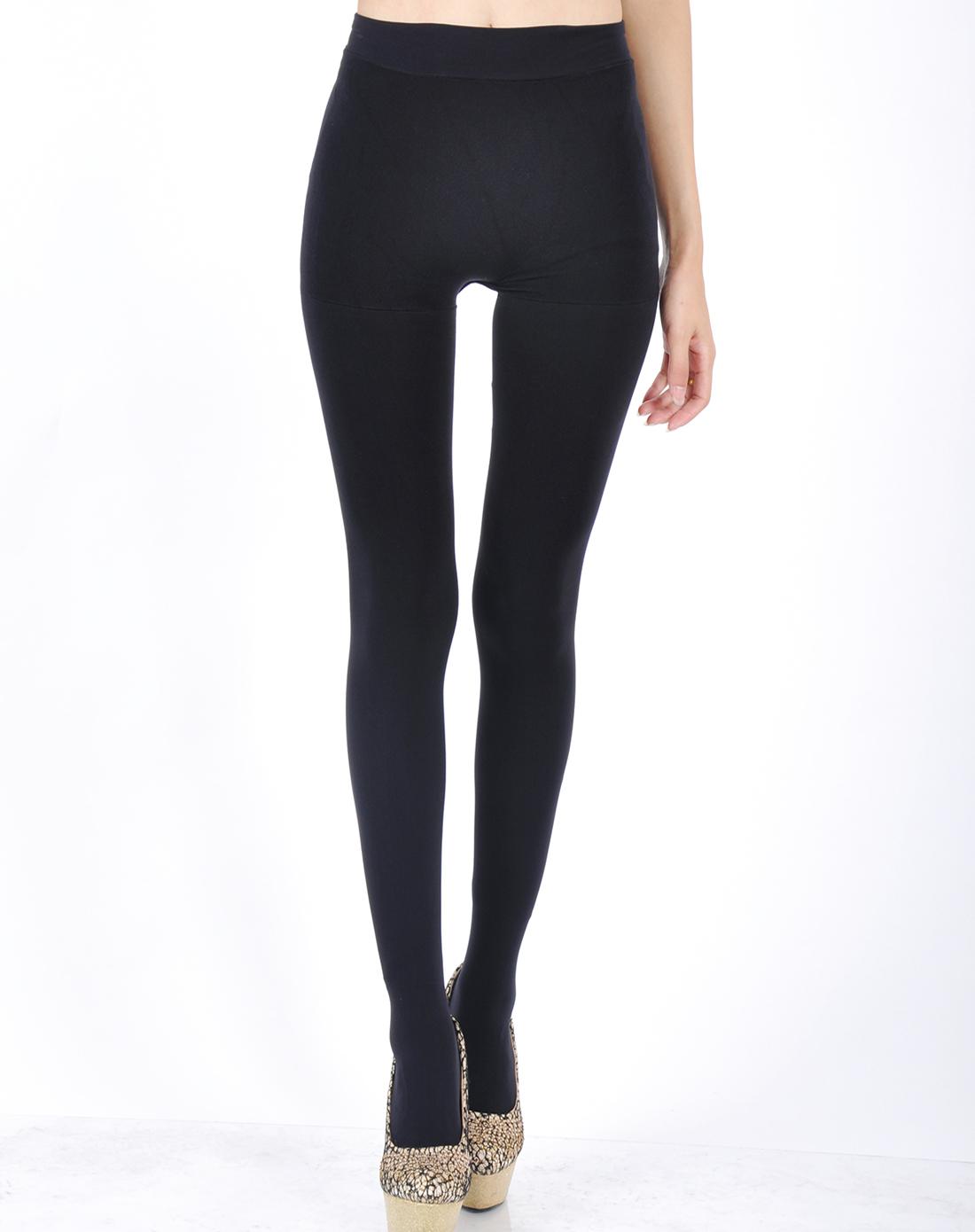 女款二代无缝厚型天鹅绒毛圈双层保暖连裤袜黑色
