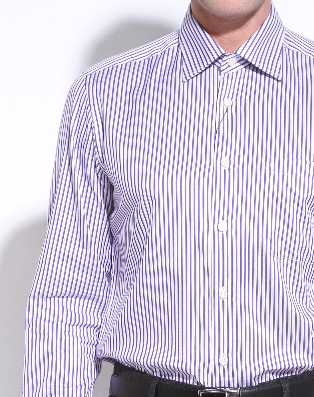 judan紫色清新竖条纹长袖v