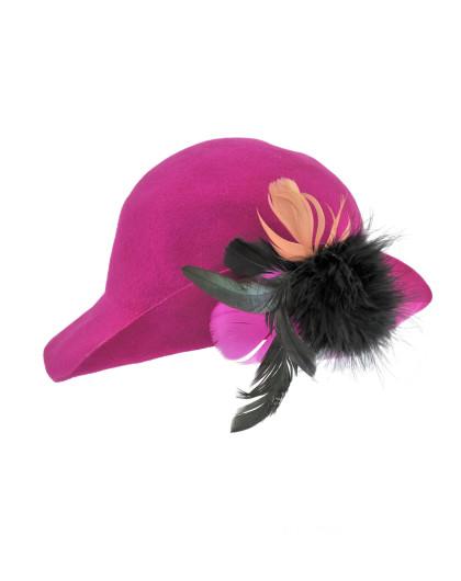 紫色复古羽毛装饰短檐羊毛礼帽