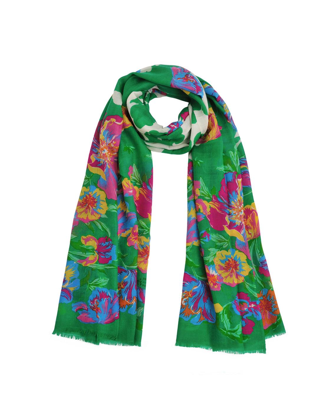 民族风手绘花朵羊毛围巾