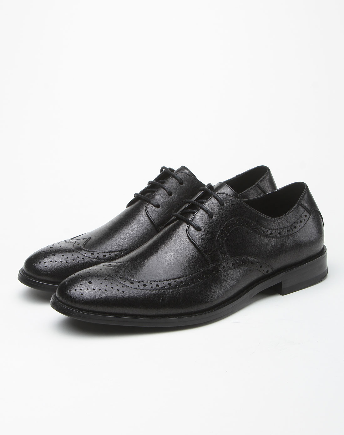 黑色布洛克商务正装皮鞋图片