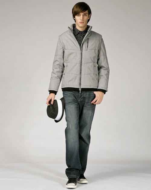 gxg.jeans 男款黑白格短款棉服