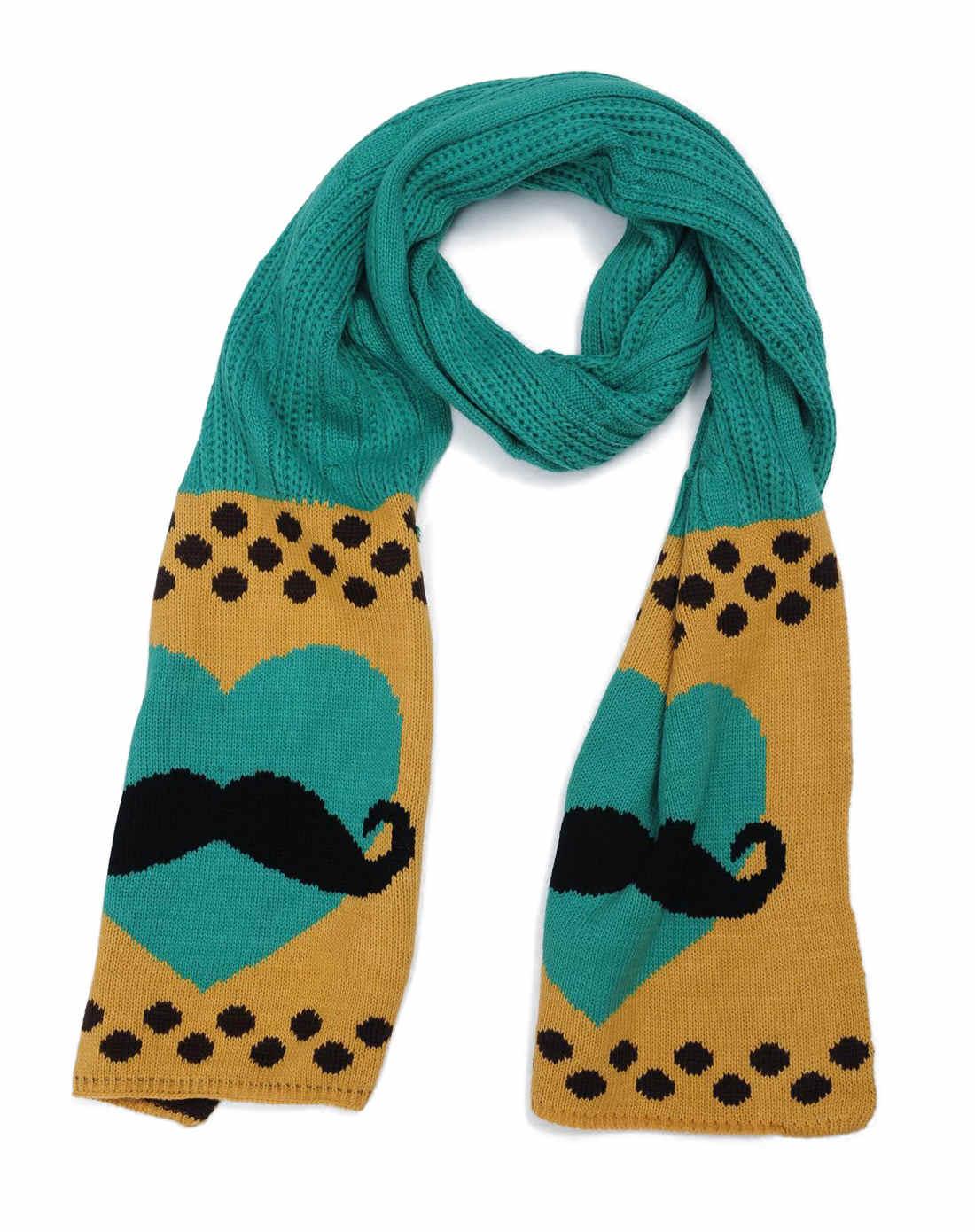 女款绿色/黄色心形黑色小胡子围巾图片