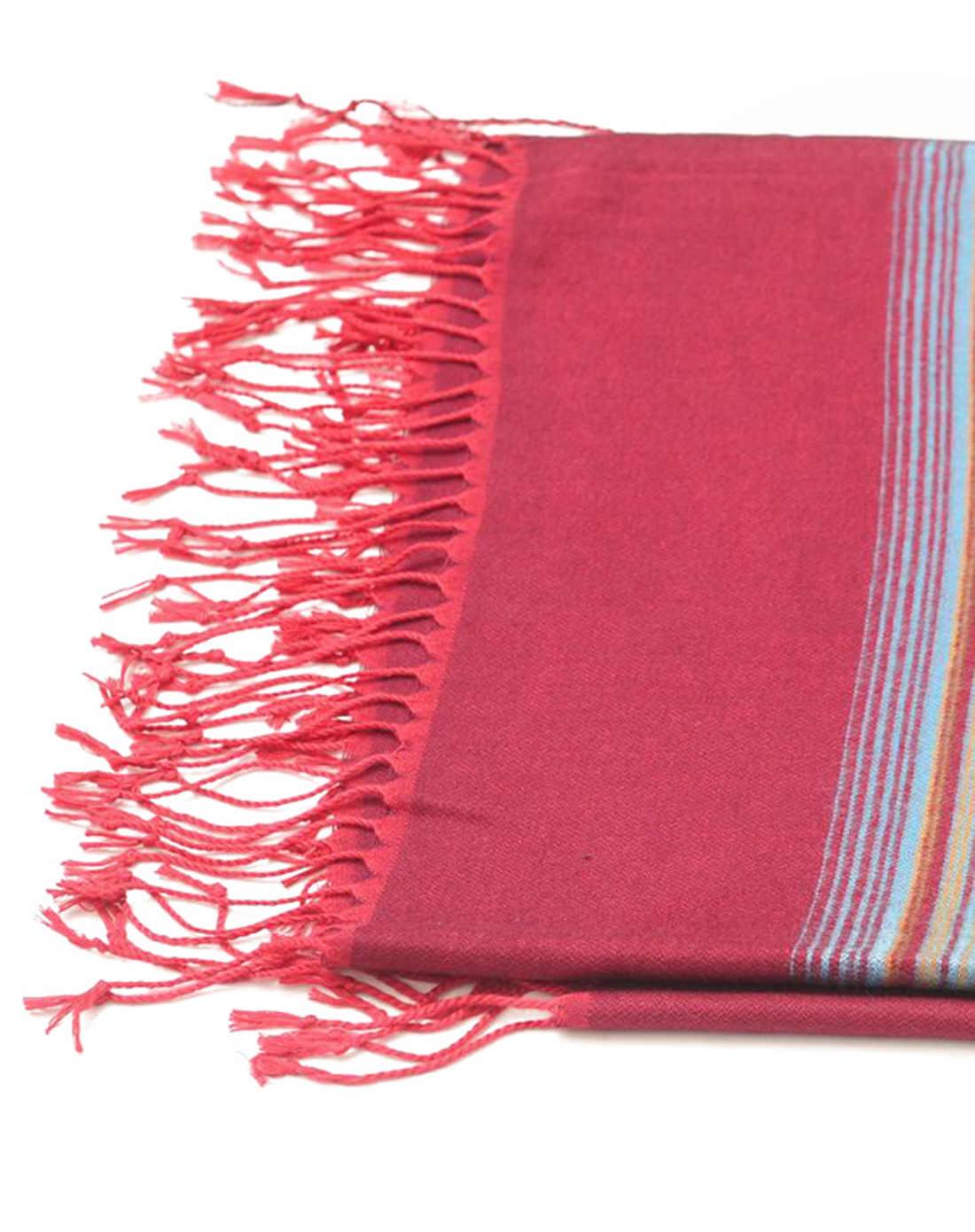 慕黛希尔配件专场女款彩色条纹红色流须围巾061384