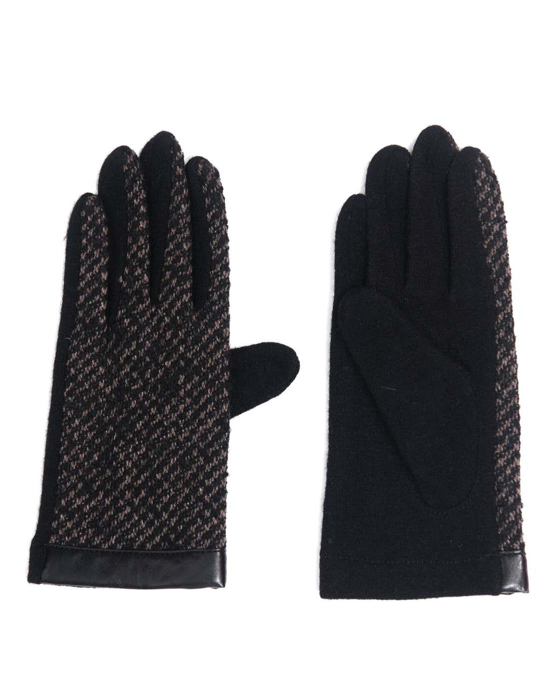 男款羊毛黑色/灰色编织手套