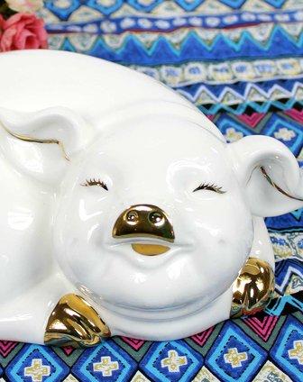 高档陶瓷摆件-吉祥幸福招财猪bj045