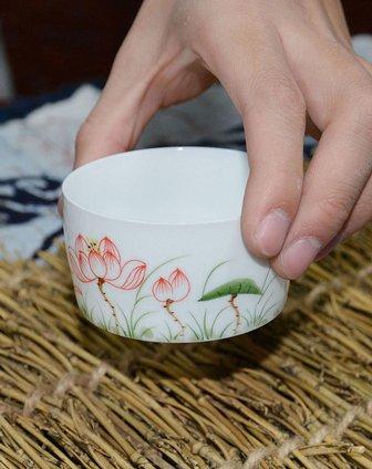 hong茶具手绘青花瓷品茗杯子荷花小直口杯茗