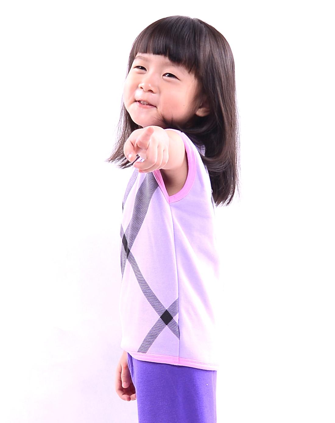 俞兆林男女保暖内衣女孩子紫色可爱印花加绒保暖背心