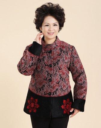 女款红咖色花纹立领唐装棉衣