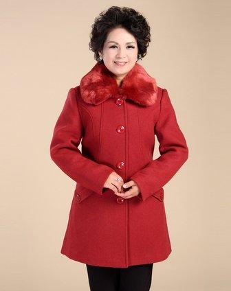 台格女款枣红色高档毛领中长款毛呢大衣3tb39a81215