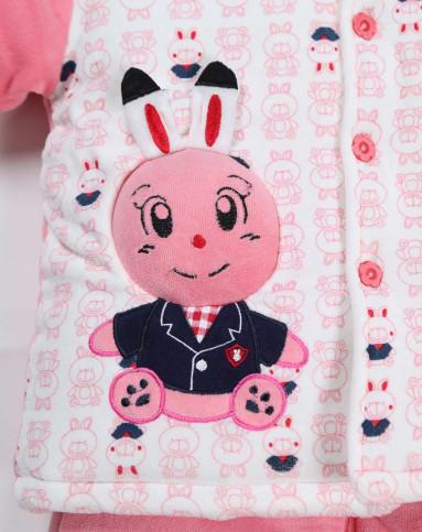 女童西瓜红卡通小兔兔婴儿棉服套装