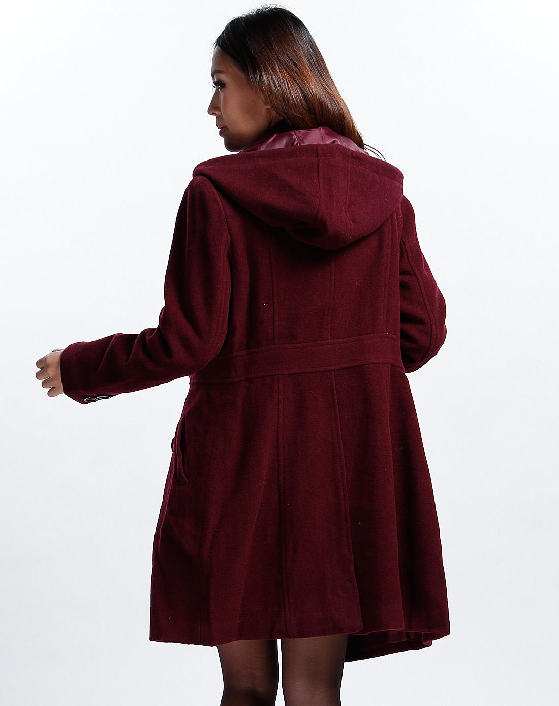 可姿.伊cocci女装专场-酒红色连帽长袖大衣