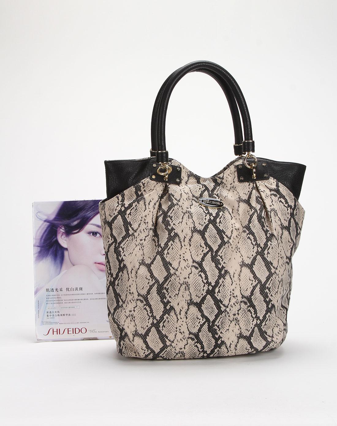 女款米色蛇纹印花手提包