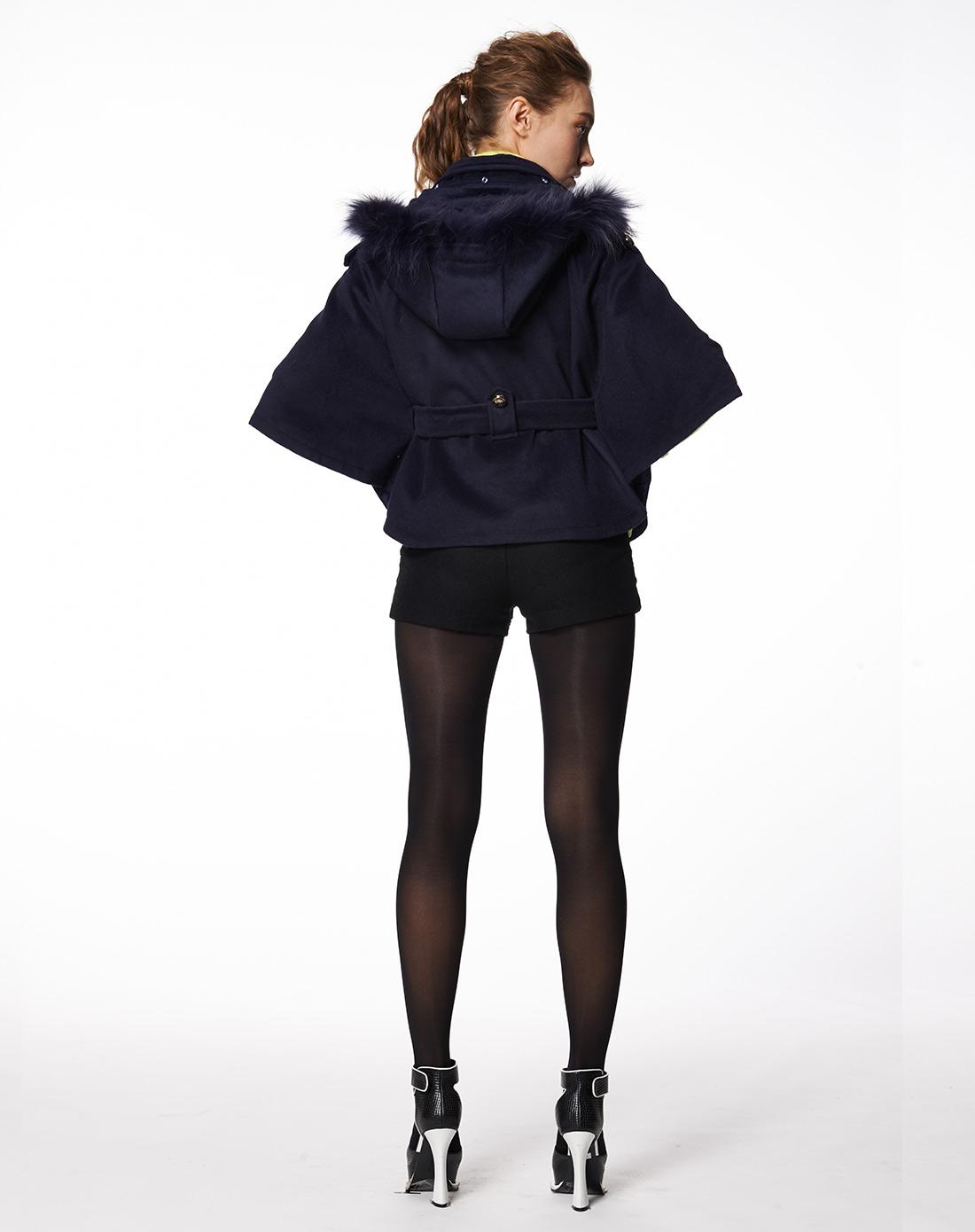 村上春csspring女款藏青色斗篷时尚休闲顺毛呢外套