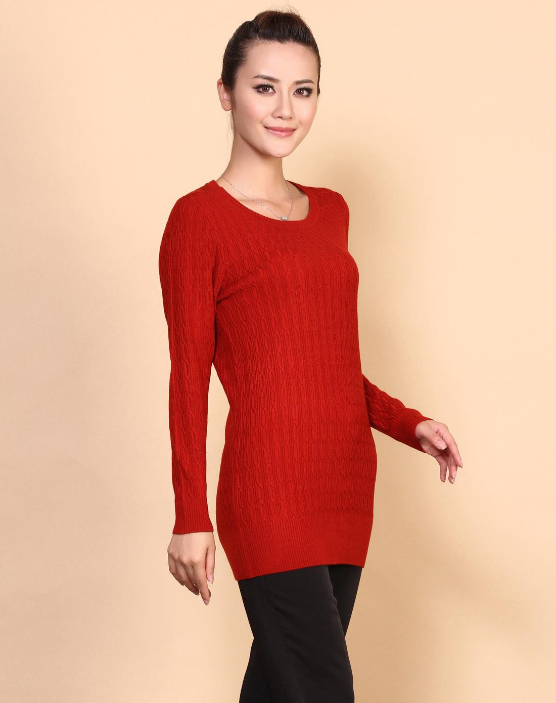 女款砖红色圆领针织衫