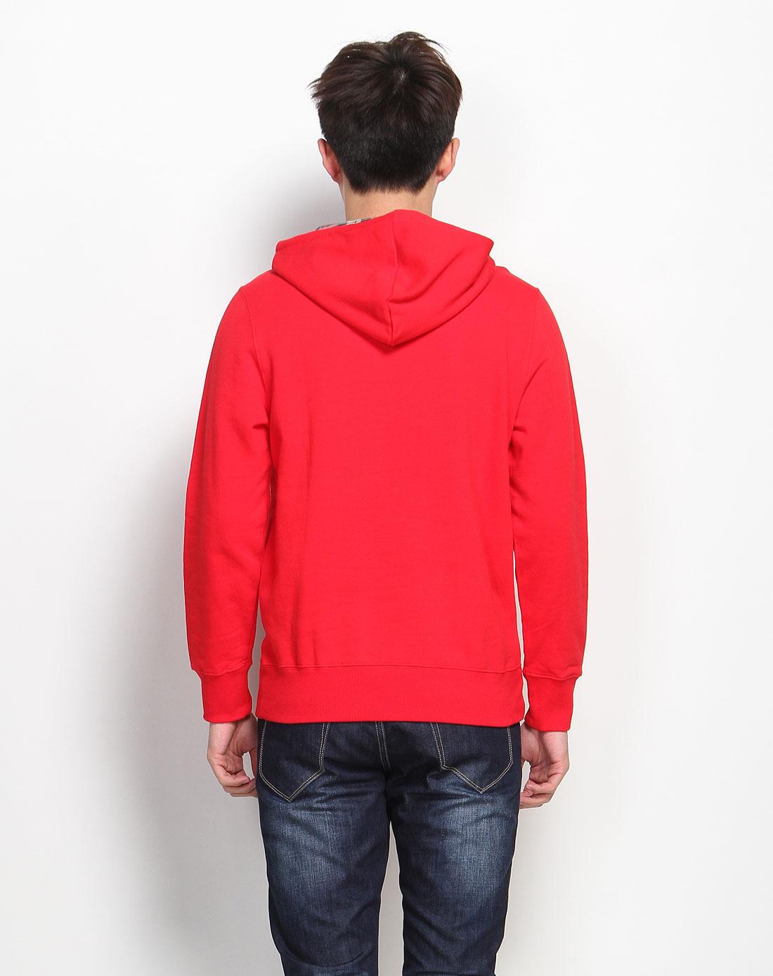 卫衣_大红色连帽字母长袖卫衣