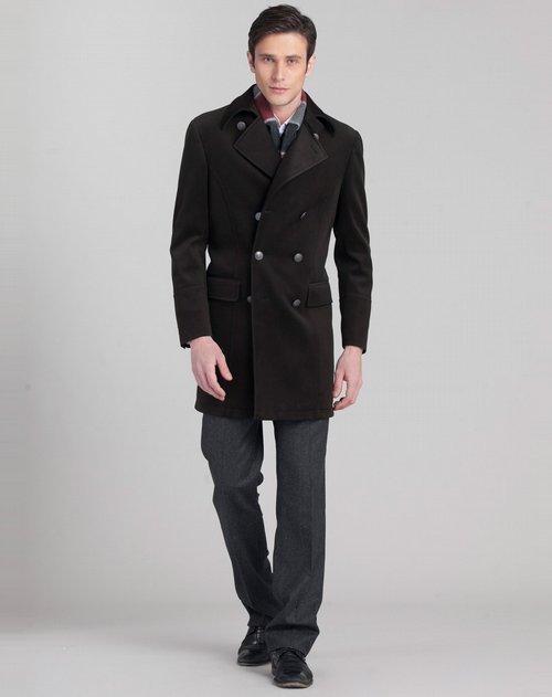 萨里奥托 欧式时尚双排扣羊毛大衣