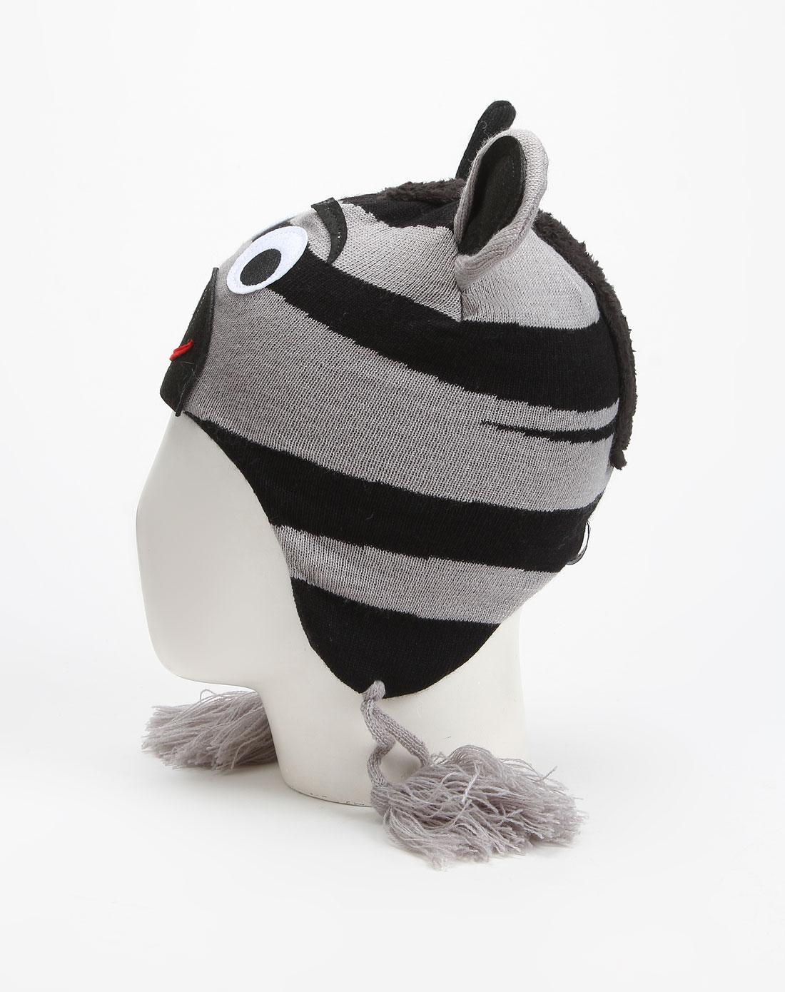 青少年黑灰色动物图案针织帽子