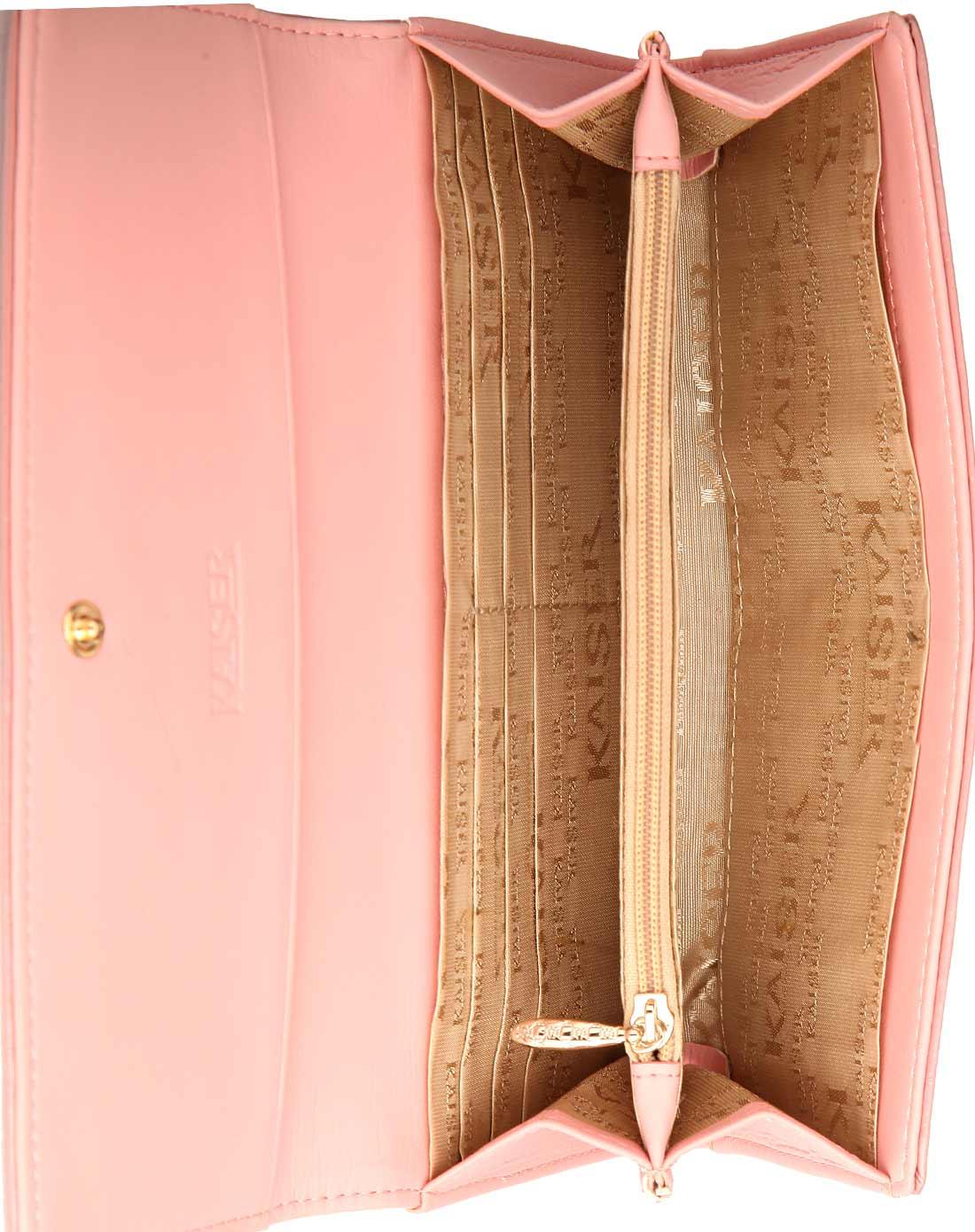 女款粉红色牛皮革钱夹