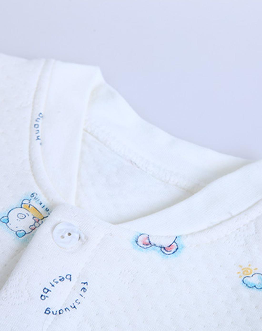 婴儿白底蓝色小猪竹纤维保暖布全开长袍
