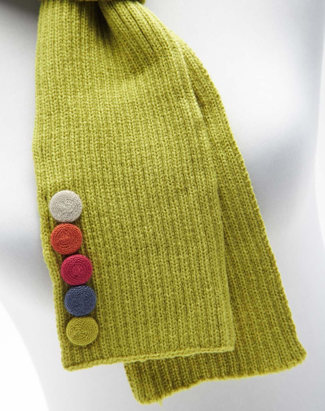 penelope英式纽扣装饰绒线编织围巾(青草绿)