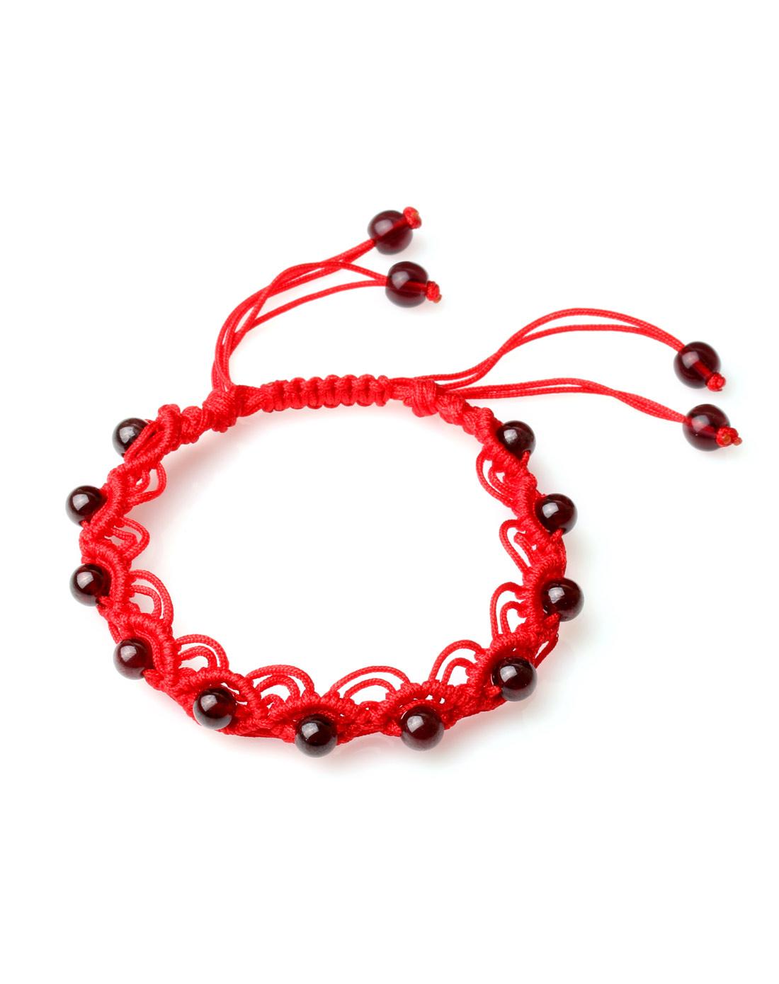 天然石榴石纯手工编绳嵌珠手链附证书