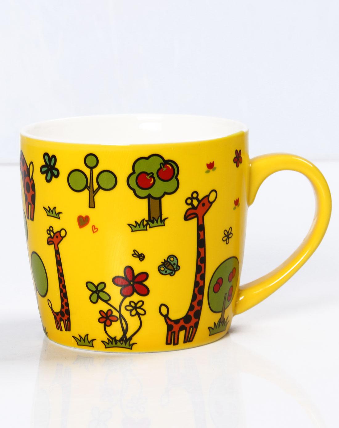 创意碗盘杯子陶瓷套装儿童整套餐具套装黄色长颈鹿3件套