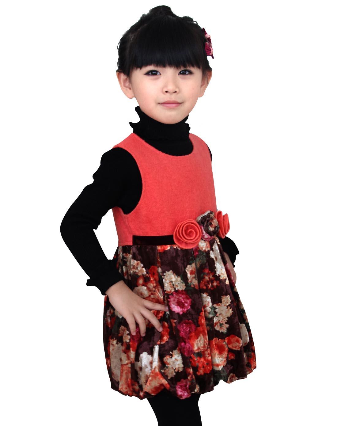 女童粉色手绘绣花连衣裙