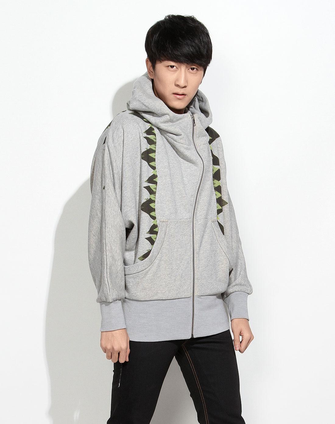 灰色摇滚休闲连帽长袖针织外套