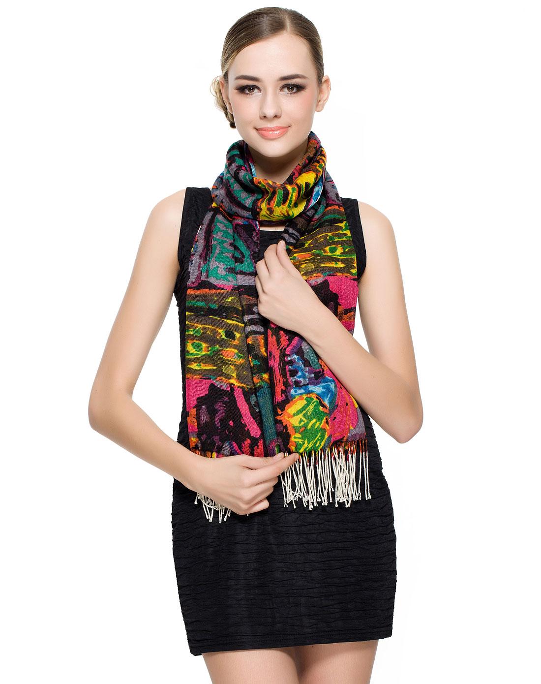 女款彩色纯羊毛水彩手绘印花围巾