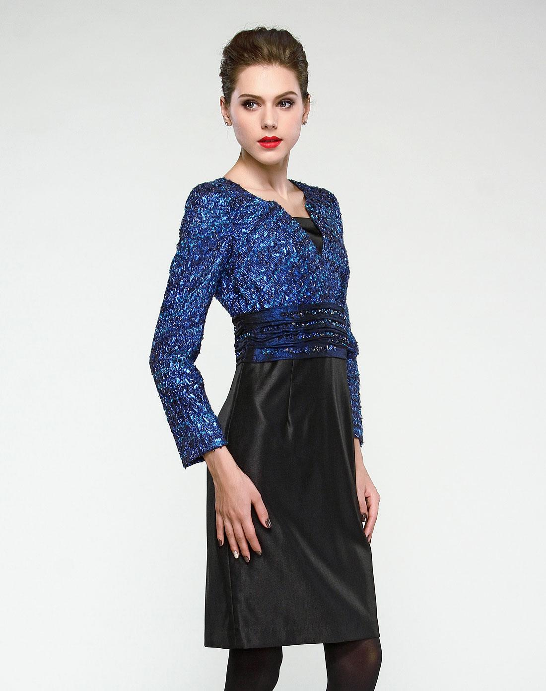 袖跺(h�(�_蓝色闪亮提花拼接九分袖连衣裙