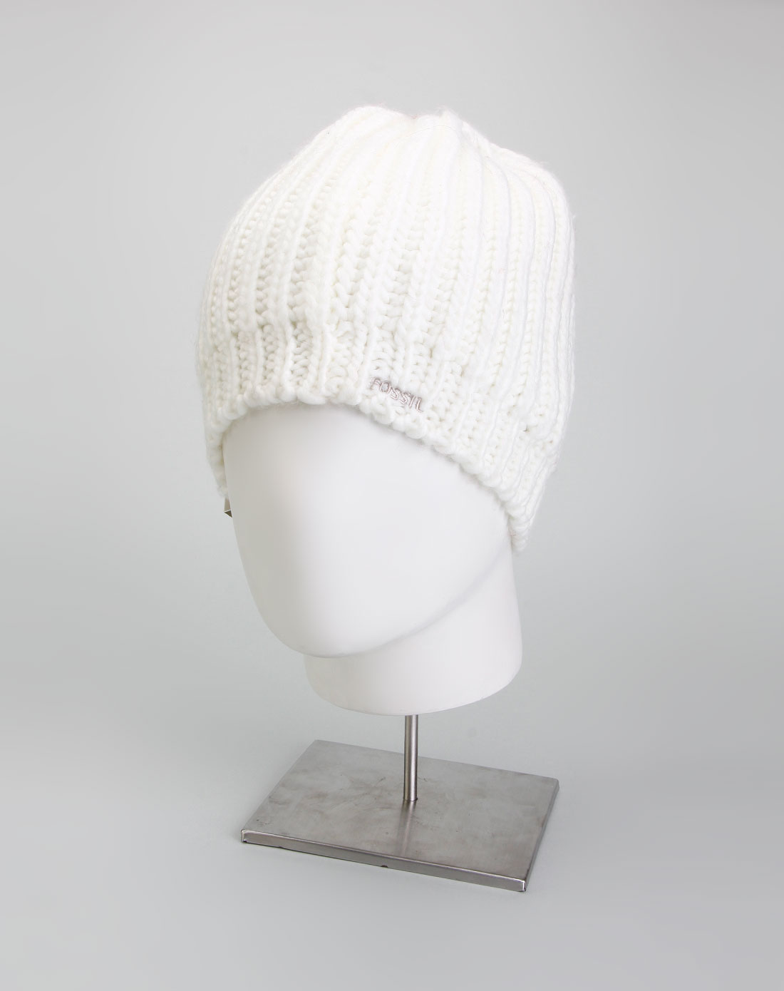 fossil 中性白色针织帽子