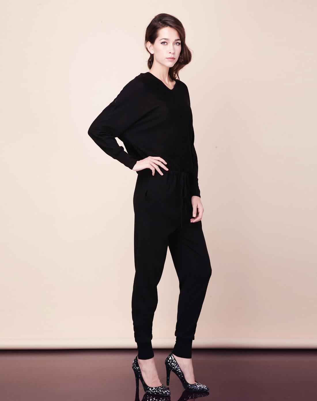 莱茵 黑色针织连身裤图片