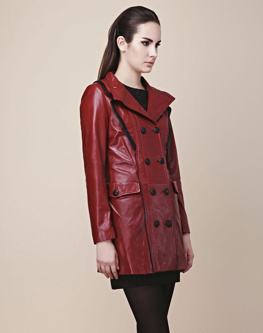 酒红色长款皮夹克amj124ljk314x1