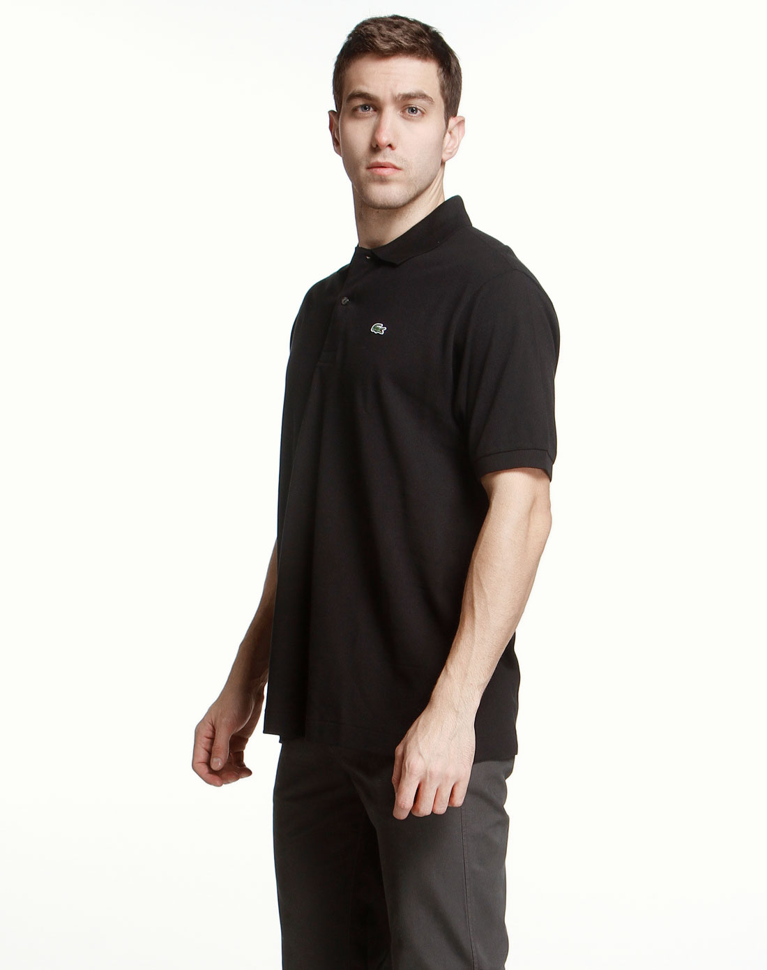 简约黑色短袖polo衫