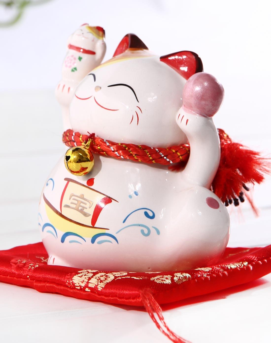 彩色陶瓷招财猫招财宝