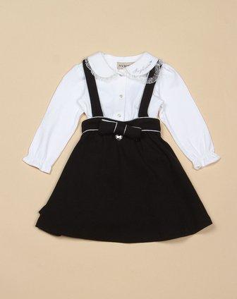 女童黑色时尚可爱长袖背带裙套装
