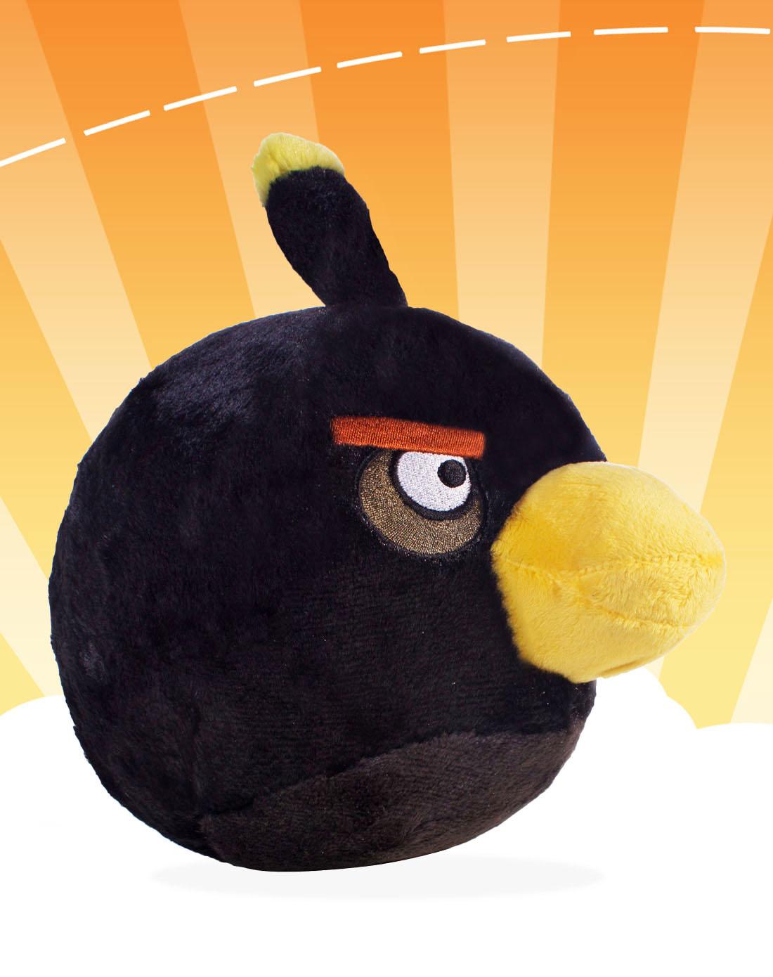 愤怒的小鸟黑色炸弹鸟毛绒公仔